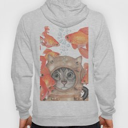Scuba Cat Among the Fishes Hoody