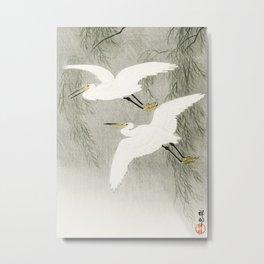 Flying Egrets - Japanese vintage woodblock print Metal Print