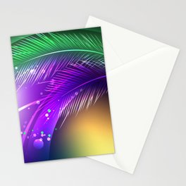 Purple Background with Feathers Stationery Cards