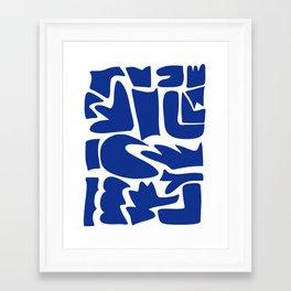Blue shapes on white background Framed Art Print