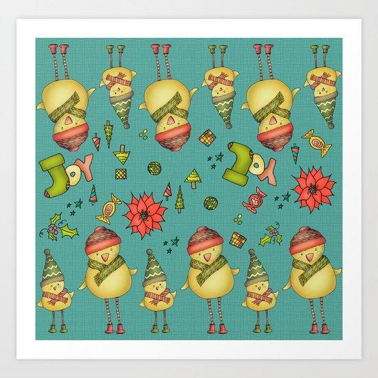 Two Chicks Pattern Art Print