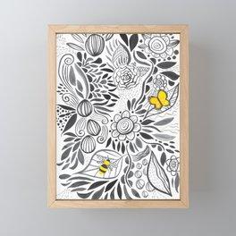 black & white flowers Framed Mini Art Print