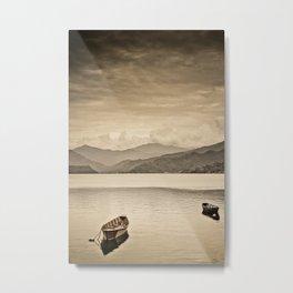 Lone boats on Phewa Lake, Pokhara, Nepal Metal Print