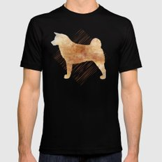 Modern Akita Dog Watercolor Stripes MEDIUM Black Mens Fitted Tee