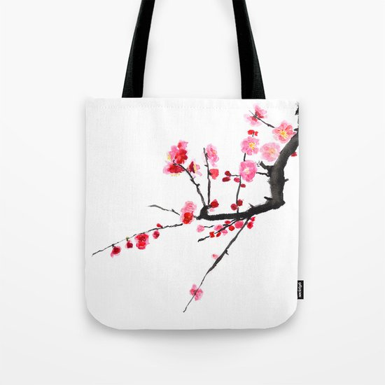 red plum flower Tote Bag