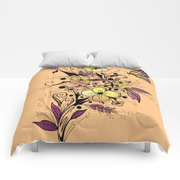 Flower Tattoo in Yellow and Purple Comforters