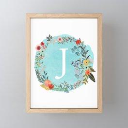 Personalized Monogram Initial Letter J Blue Watercolor Flower Wreath Artwork Framed Mini Art Print