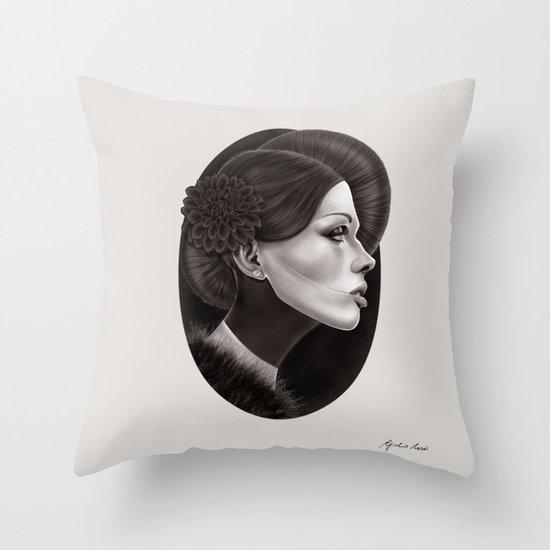 """The Black Dahlia"" Throw Pillow"