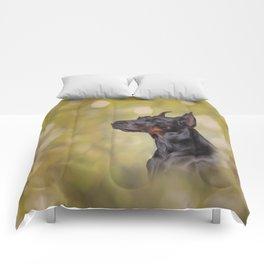 Drawing Doberman dog 2 Comforters
