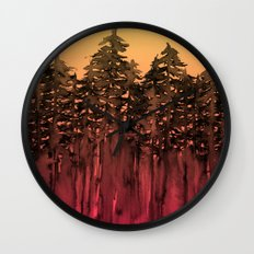 FOREST THROUGH THE TREES 12 Hot Pink Magenta Orange Black Landscape Ombre Abstract Painting Outdoors Wall Clock