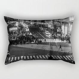 Shibuyacrossing at night - monochrome Rectangular Pillow