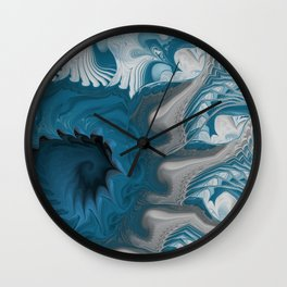 Dark Blue Sea Swirls Wall Clock