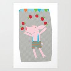 little pigs like apples Art Print