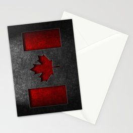 Canadian Flag Stone Texture Stationery Cards