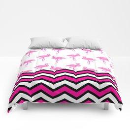 Pink Zebra Chevron with Flamingos Comforters