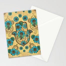 Hamsa Hand -Hand of Fatima Floral Ornament Stationery Cards