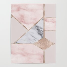 Geometric mix up - rose gold Poster