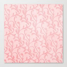 Pretty princess- Pink elegant Damask pattern Canvas Print
