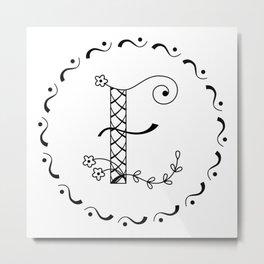 E - decorative monogram. Metal Print