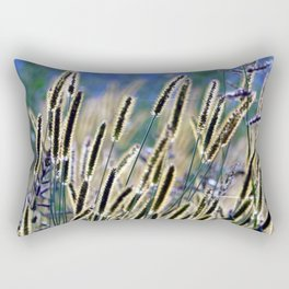 tall grasses with seeds with blue sky and sunny day Rectangular Pillow