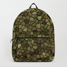 Seaweed and Juniper Cobbled Patchwork Terrazo Pattern Backpack