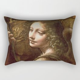 "Leonardo da Vinci ""The Virgin of the Rocks (London)"" Angel Rectangular Pillow"
