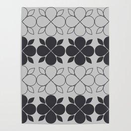 Black and Grey Flower Tile Poster