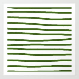 Simply Drawn Stripes in Jungle Green Art Print