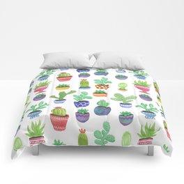 Watercolor Cactus + Succulents Comforters
