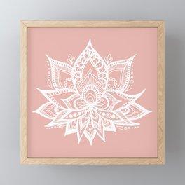 White Lotus Flower on Rose Gold Framed Mini Art Print