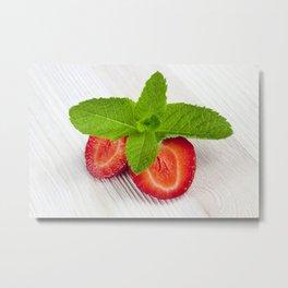 cut red ripe strawberry Metal Print