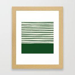 Holiday x Green Stripes Framed Art Print