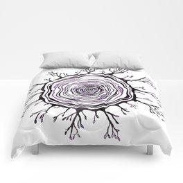 Watercolor Tree Ring, Purple Comforters