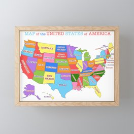 Colorful Map of the United States Framed Mini Art Print