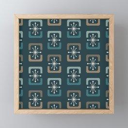 Mid Century Modern Starburst Shells Teal Framed Mini Art Print