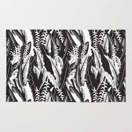 Inner Jungle in Black and White Rug