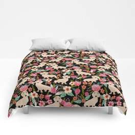 Doxie Florals - vintage doxie and florals gift gifts for dog lovers, dachshund decor, cream doxie Comforters