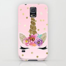 Floral Trendy Modern Unicorn Horn Gold Confetti iPhone Case
