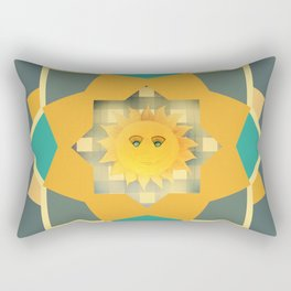 Happy Sun on Plaid Rectangular Pillow