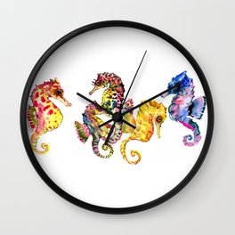 Seahorses, coral reef animals art, children playing room design decor Wall Clock