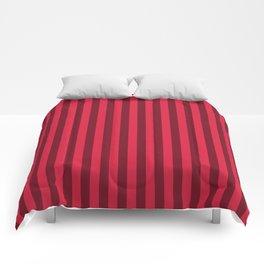 Crimson Red Stripes Pattern Comforters