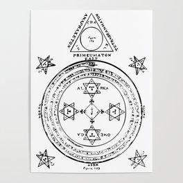 The Solomonic Magic Circle Black White Poster