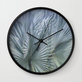 Palm Leaves: Silver Hues Wall Clock