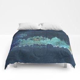 Prague skyline blue Comforters