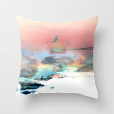 Clouds like Splattered Watercolor Throw Pillow