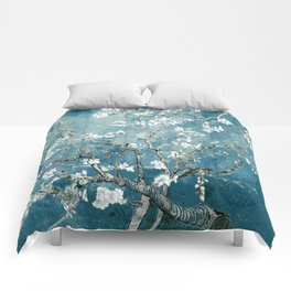 Vincent Van Gogh Almond Blossoms Teal Comforters