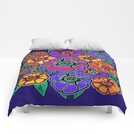 Abstract #462 - Flower Power #13 Comforters