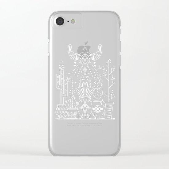 Santa Fe Garden – White Ink on Black Clear iPhone Case
