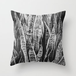 Plant Photography Tropical Exotic Plants Snake Plant Tongue Beauty Wild Nature Black and White Throw Pillow
