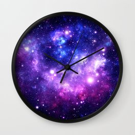 Purple Blue Galaxy Nebula Wall Clock
